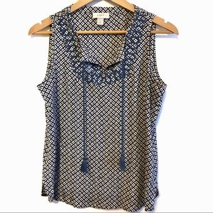 Loft Embroidered Tank Top with Tassles